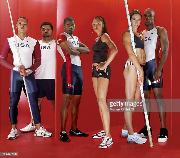 Track Field Summer Games Preview Portrait of Team USA Bryan Clay Reese Hoffa Terrence Trammell Allyson Felix Jenn Stuczynski and LaShawn Merritt