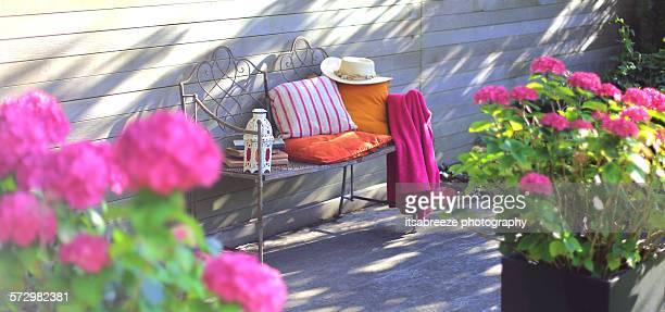 summer garden - cushion stock photos and pictures