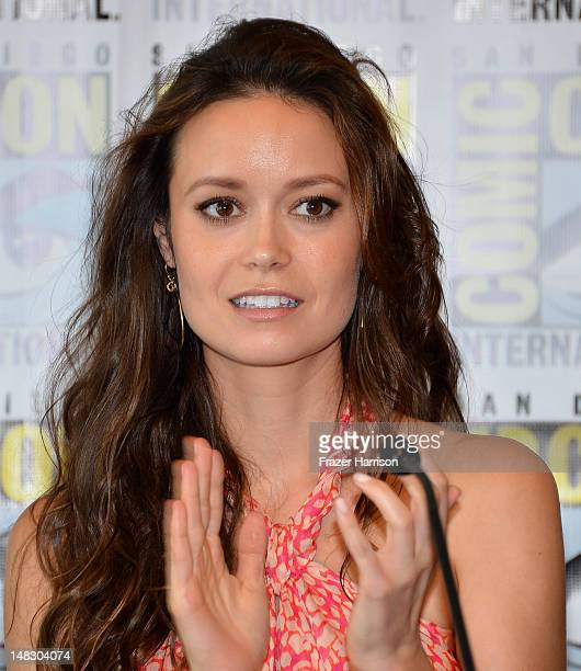 Summer Glau speaks onstage at the 'Firefly' 10 Year Anniversary Reunion Press Conference during ComicCon International 2012 held at the Hilton San...