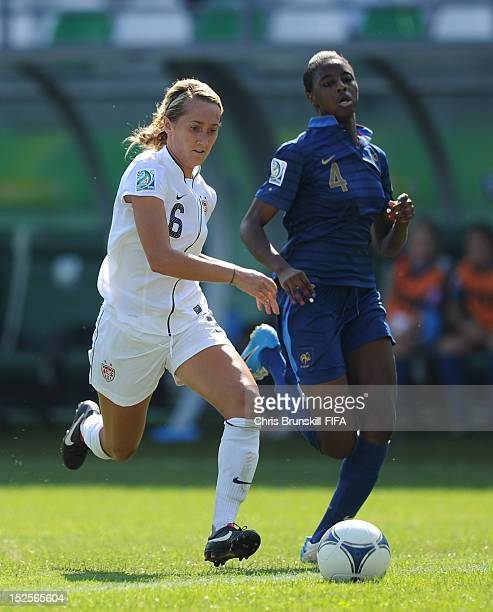 Summer Green of USA in action with Aissatou Tounkara of France during the FIFA U17 Women's World Cup Group B match between France and USA at Lankaran...