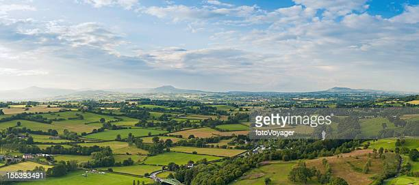 Summer green patchwork landscape aerial panorama