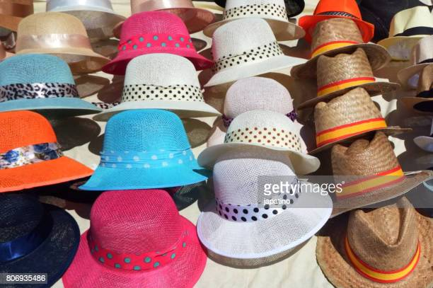 Summer hats on sale at a street stall