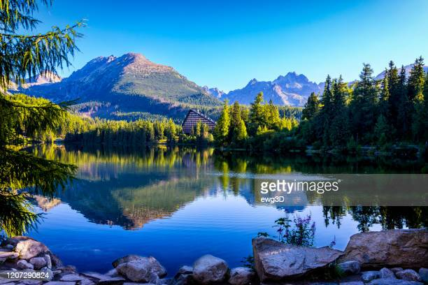 summer holiday morning at the strbske pleso mountain lake, slovakia - traditionally slovak stock pictures, royalty-free photos & images