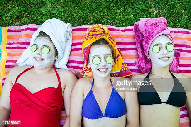 Summer home spa for girls having fun
