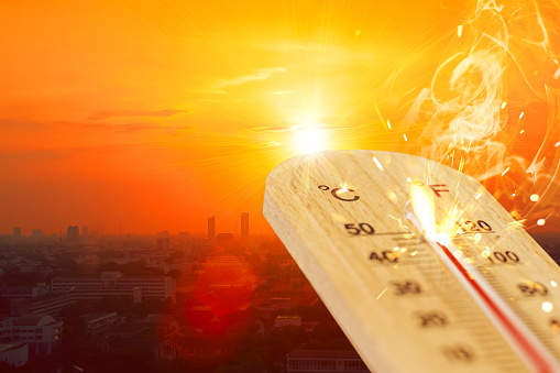 summer hot weather season high temperature thermometer with city view. 1137759901
