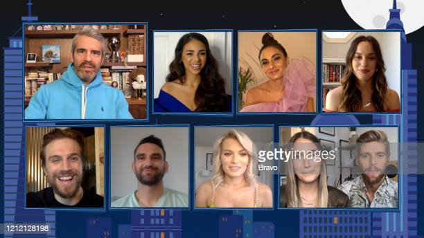 COHEN @ HOME Summer House Reunion Episode 17081 Pictured in this screen grab Luke Gulbranson Andy Cohen Carl Radke Jules Daoud Lindsay Hubbard Paige...