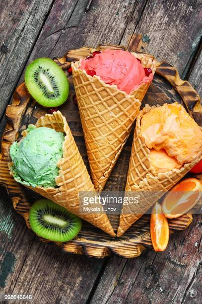 Summer ice cream in waffle cone