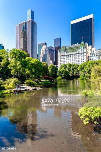 summer in new york city, central park, south east corner - hotel plaza manhattan stock-fotos und bilder