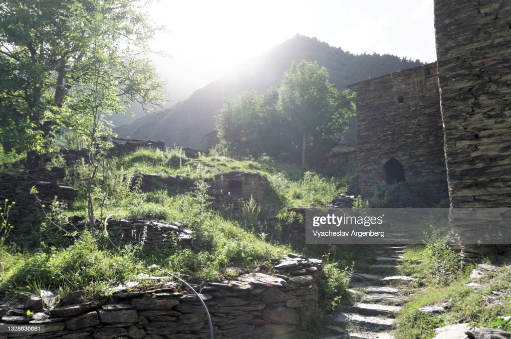 Summer in Shatili, sunny weather in the Caucasus Mountains, Georgia : Stock Photo