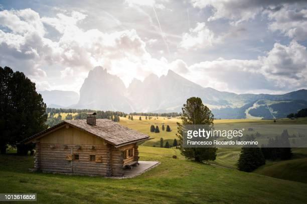 summer in the dolomites alps - chalet de montagne photos et images de collection