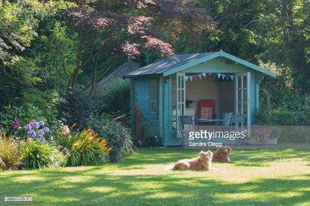 Summer in the garden with the summer house and basking dogs