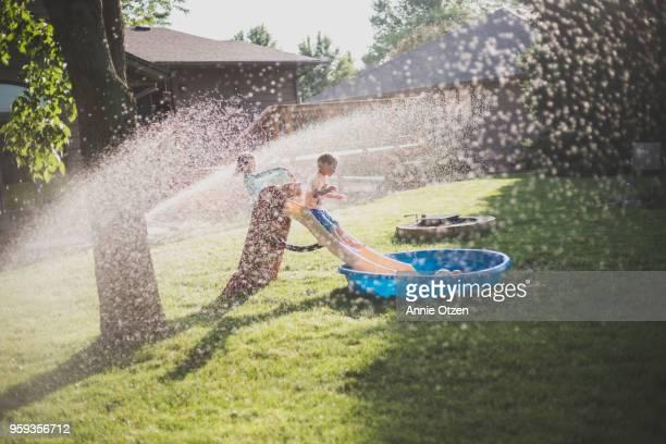 Summer kids playing in backyard