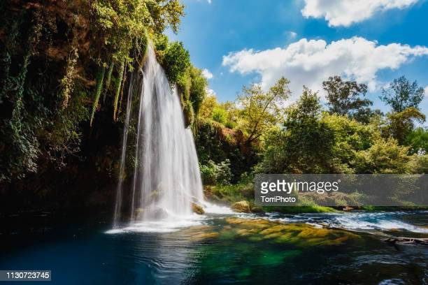 summer landscape with big waterfall. duden waterfalls in antalya - antalya province stock pictures, royalty-free photos & images