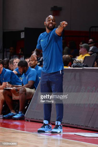 Summer League Head Coach John Lucas III of the Minnesota Timberwolves shouts out directions during the game against the Denver Nuggets during the...