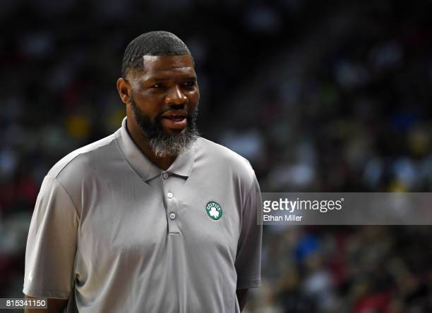 Summer League head coach Walter McCarty of the Boston Celtics looks on during a game against the Dallas Mavericks during the 2017 Summer League at...