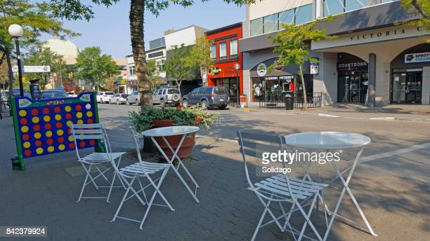summer morning in treelined downtown kamloops - kamloops stock pictures, royalty-free photos & images