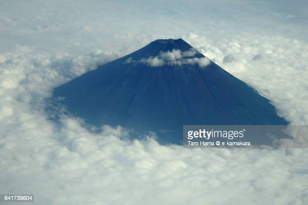 Summer Mt. Fuji aerial view from airplane