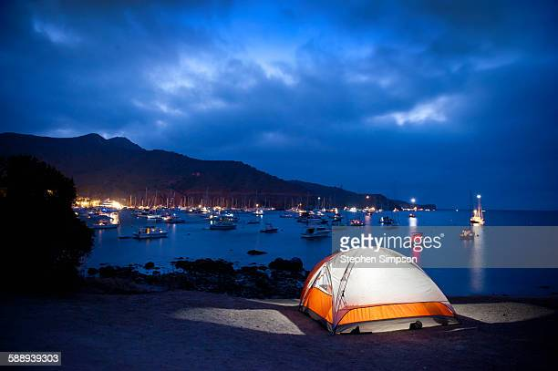 Summer night at beach side campsite