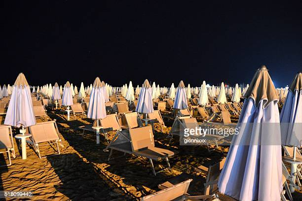 Summer night on the beach in Cattolica, Emilia Romagna, Italy