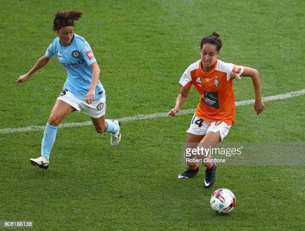 Summer O'Brien of the Roar is chased by Yukari Kinga of Melbourne City during the round 12 WLeague match between Melbourne City and the Brisbane Roar...
