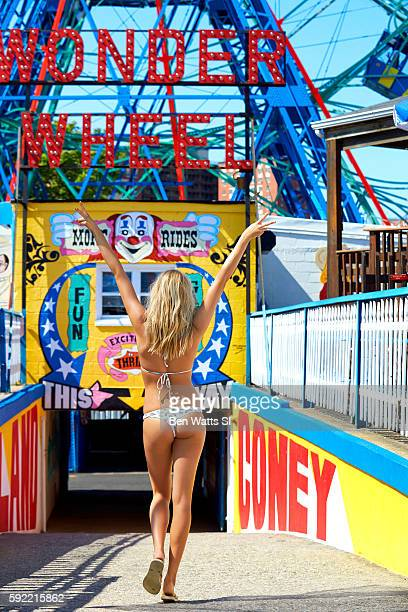Model Hailey Clauson poses for the 2016 Sports Illustrated Summer of Swim issue on June 17 2016 at Coney Island in Brooklyn New York Swimsuit by...