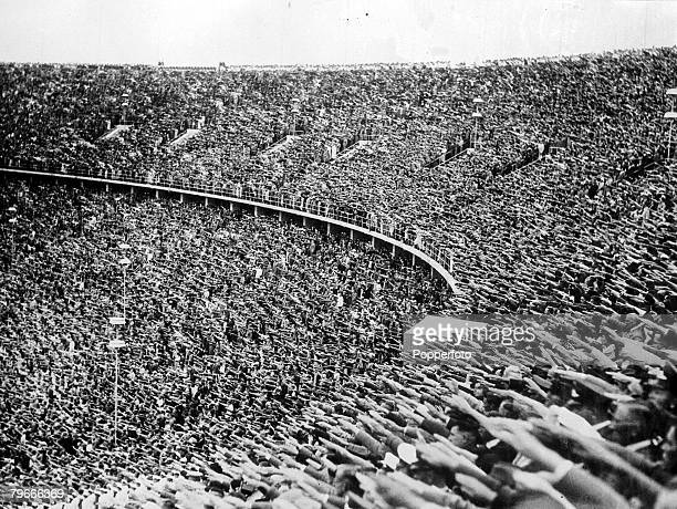 Summer Olympic Games Berlin Germany 2nd August 1936 The huge crowd give the nazi salute in Berlin's Olympic stadium as chancellor Adolf Hitler...