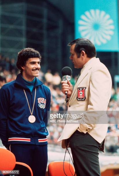 Summer Olympics 8/269/11/72 ABC Sports commentator Keith Jackson interviewed swimmer Mark Spitz about his gold medal win of the Games of the XX...