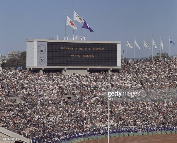 Crowd during the opening ceremony of the 1964 Summer Olympics at Olympic Stadium in Kasumigaoka Shinjuku Tokyo Japan Photo by NBCU Photo Bank