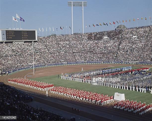 Summer Olympics -- Pictured: Crowd during the opening ceremony of the 1964 Summer Olympics at Olympic Stadium in Kasumigaoka Shinjuku, Tokyo, Japan...