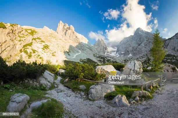summer on mount hochkalter, nationalpark berchtesgaden - berchtesgadener land stock photos and pictures