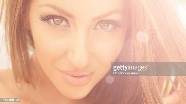 summer outdoor close-up beauty portrait with lens flare - false eyelash stock pictures, royalty-free photos & images