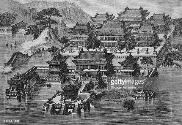 Summer palace in beijing forbidden city china historical woodcut circa 1865