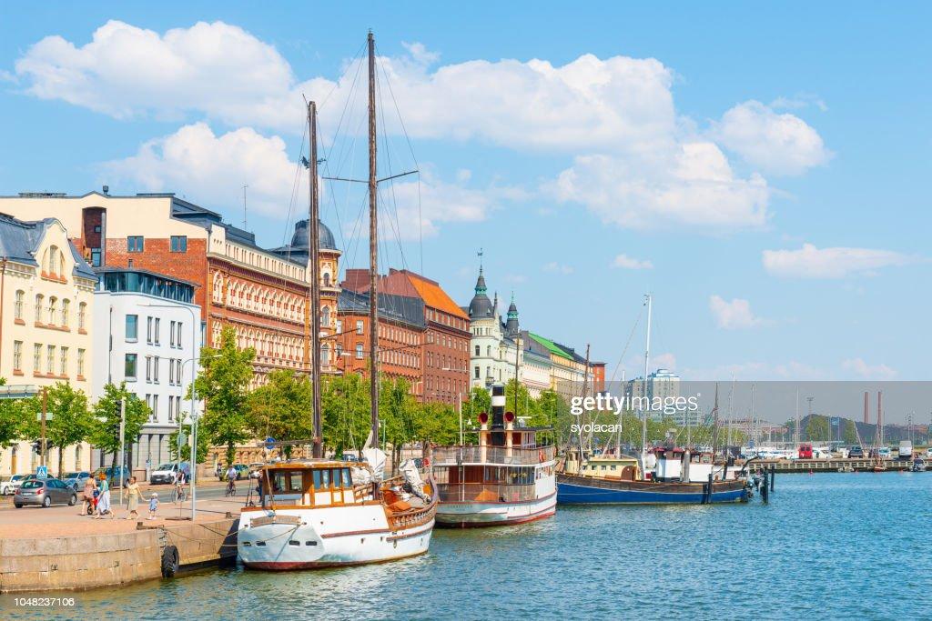 Summer panorama of old port pier, Helsinki : Stock Photo