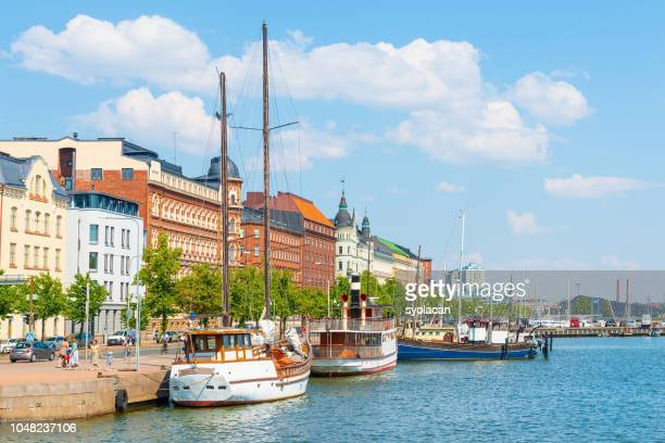 summer panorama of old port pier, helsinki - syolacan stock pictures, royalty-free photos & images