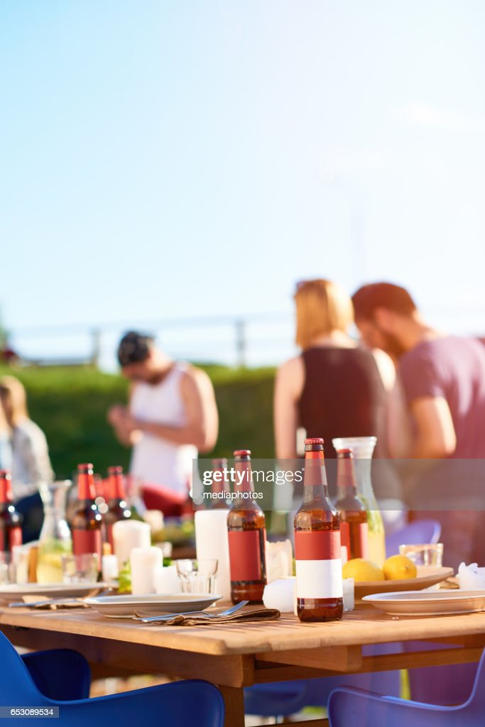 Summer party in backyard : Stock Photo