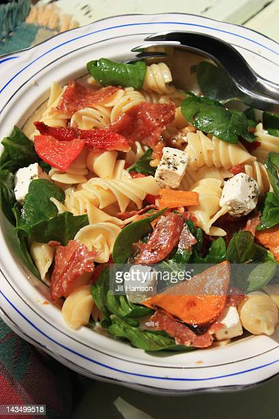 summer pasta salad - jill harrison stock pictures, royalty-free photos & images