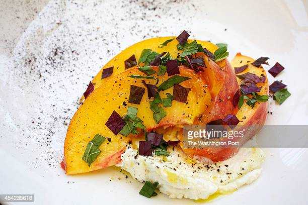 Summer Peach Salad, Shiso, Mint & Ricotta, one of the dishes at Rose's Luxury, the acclaimed restaurant on Barracks Row. .