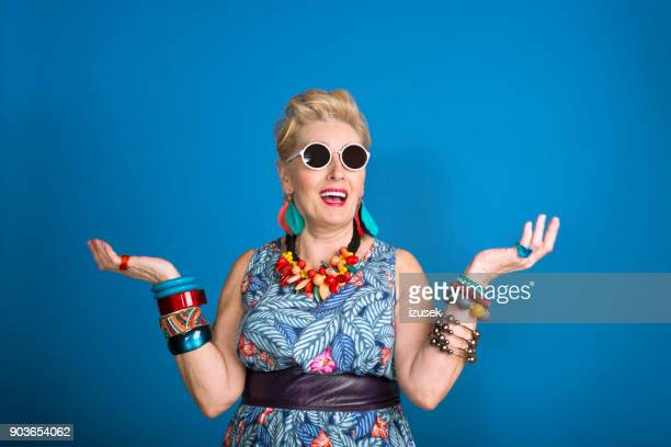 summer portrait of creative senior woman - funny stock pictures, royalty-free photos & images
