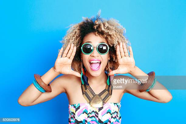 summer portrait of excited afro american young woman - shouting stock photos and pictures