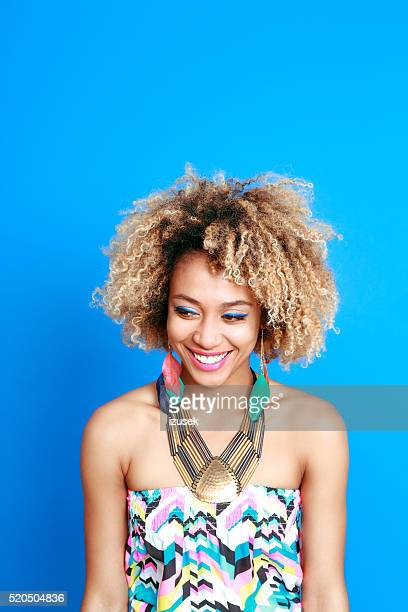 Summer portrait of happy afro american young woman