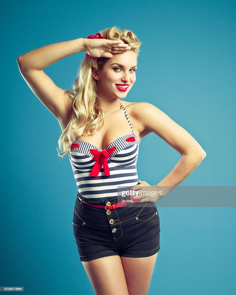 0d5ac753818 Summer portrait of sensual pin-up style sailor blonde woman