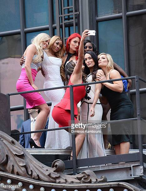 Summer Rae Cameron Nikki Bella Eva Marie Brie Bella attend the WrestleMania 30 press conference at the Hard Rock Cafe New York on April 1 2014 in New...