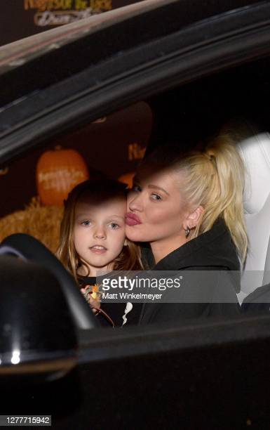 Summer Rain Rutler and Christina Aguilera attend Nights of the Jack Friends & Family Night 2020 at King Gillette Ranch on September 30, 2020 in...