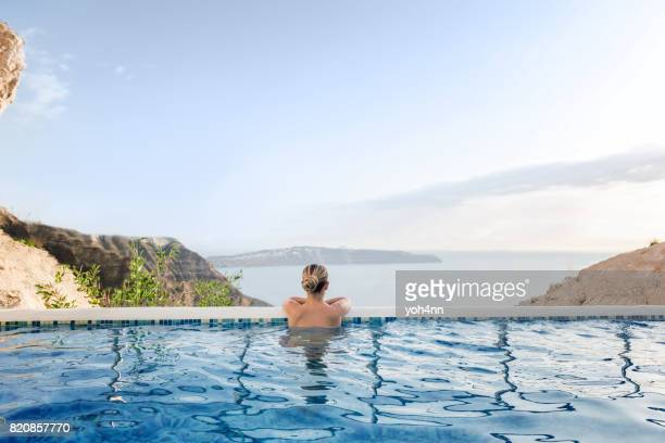 summer relax in pool - poolside stock pictures, royalty-free photos & images