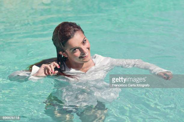 summer relax - wet girl stock photos and pictures