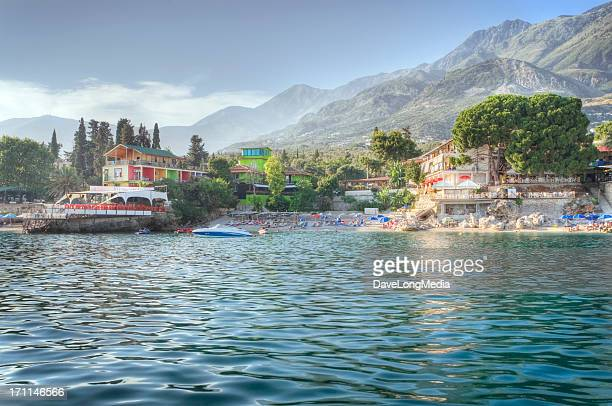 summer resort on the adriatic sea - albania stock pictures, royalty-free photos & images