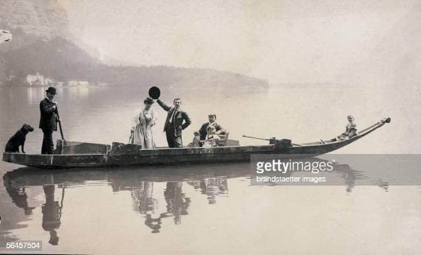 Summer resort Tourists with children and dog on an iron at the Hallstaetter lake Around 1900 Photography by Hans Kinder Gries [In der Sommerfrische...