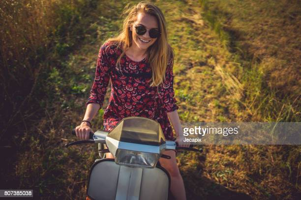 summer ride - moped stock photos and pictures