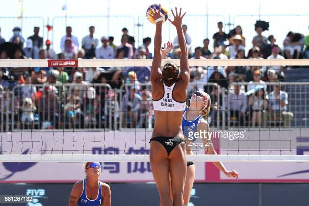 Summer Ross of the United States in action with Brooke Sweat of the United States during the semi final match against Katarzyna Kociolek of Poland...