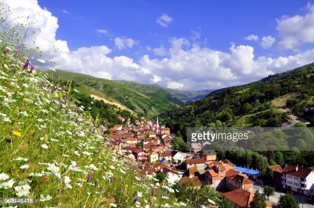 summer rural landscape with the village - kosovo stock pictures, royalty-free photos & images